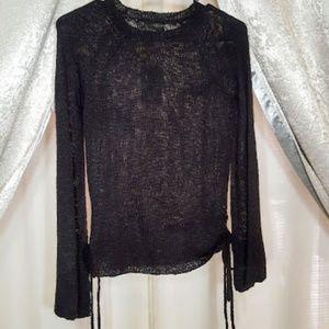 Pink Republic Black Bell Sleeve side ties sweater
